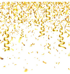 golden confetti with ribbon falling shiny vector image