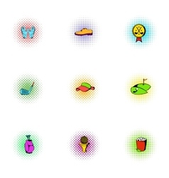 Golf icons set pop-art style vector