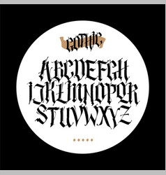 gothic english alphabet set font for tattoo vector image