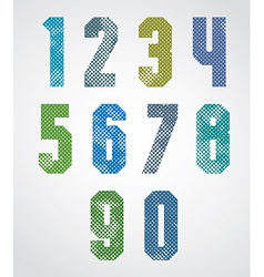 Halftone print dots textured numbers vector image