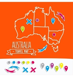Hand drawn Australia travel map with pins vector