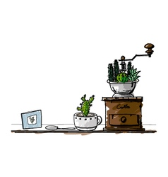 hand drawn cactus in cup and coffee grinder vector image