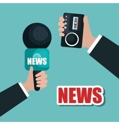 hands hold microphone and tape record news graphic vector image