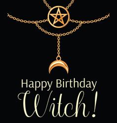 happy birthday witch card golden metallic vector image