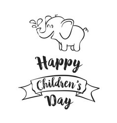 Happy children day celebration hand draw vector