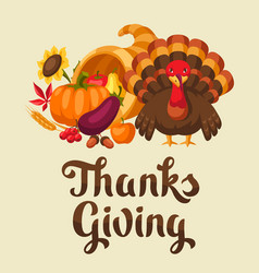 happy thanksgiving day card with holiday objects vector image