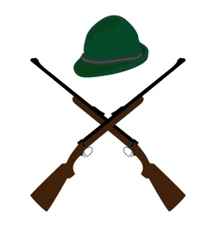Hat and rifle vector image
