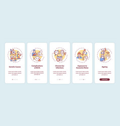 Hearing loss causes onboarding mobile app page vector