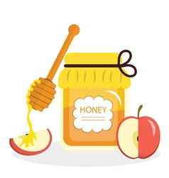 Honey and apples greeting card for the Jewish New vector