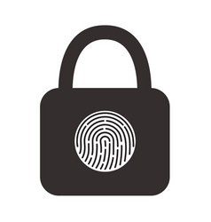 icon of a hinged lock with a fingerprint scanner vector image