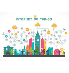 internet things concept with people and system vector image