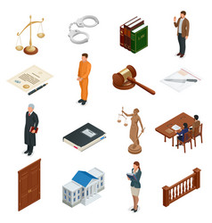 Isometric law and justice symbols legal vector