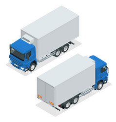 isometric truck delivery lorry mock-up isolated vector image