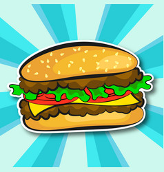 Juicy hamburger vector