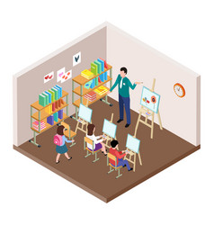kids art studio isometric vector image