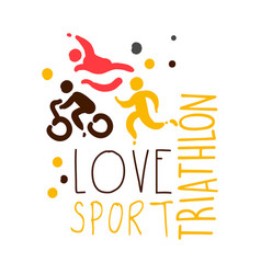 Love triathlon sport logo colorful hand drawn vector