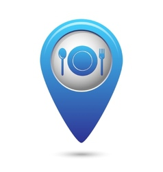 Map pointer with fork and spoon icon vector