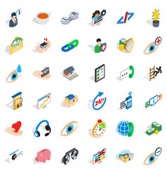 Medical intervention icons set isometric style vector
