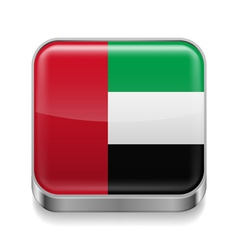 Metal icon of United Arab Emirates vector