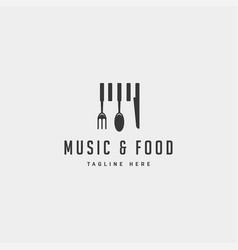 Music food simple flat logo design icon element vector
