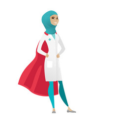 Muslim doctor wearing a red superhero cloak vector