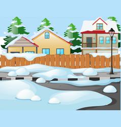 Neighborhood scene in winter time vector