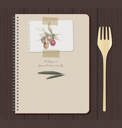 notebook olives hand drawn-02 vector image