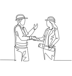 One line drawing young architect woman vector