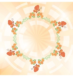 orange background with flowers and butterflies vector image