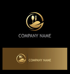Organic food gold luxury logo vector