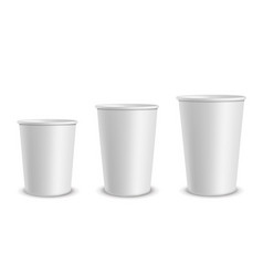 paper white cups container different size cup vector image