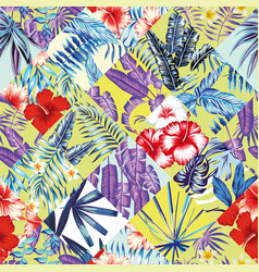 patchwork tropic red blue yellow pattern vector image