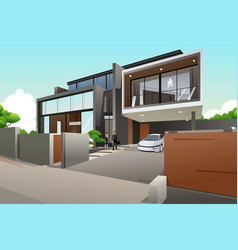 people in a modern style house vector image