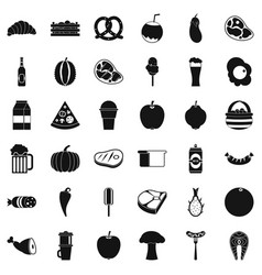 plate icons set simle style vector image