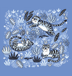Print with tigers in the jungle isolated on purple vector