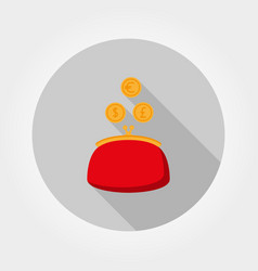 purse and coin icon flat vector image