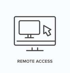 Remote computer flat line icon outline vector