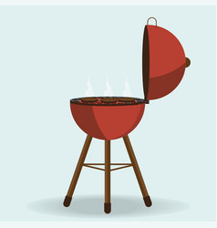 round barbecue grill isolated on white vector image