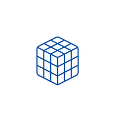 rubik cube line icon concept rubik cube flat vector image