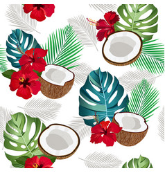 Seamless pattern coconut piece and palm leaves vector