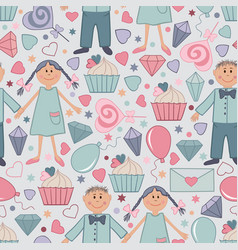 seamless pattern for saint valentine day 04 vector image