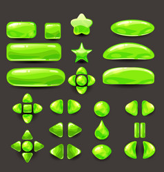 Set game ui complete green menu of graphical user vector