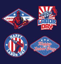 set of badge labor day design vector image