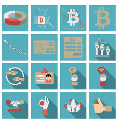 set of economics icons in flat style with long vector image