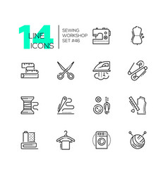 sewing workshop - set of line design style icons vector image