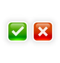 Shiny button style check mark and cross symbols vector