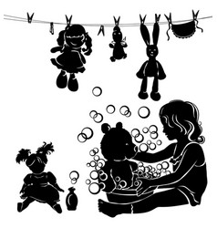 Silhouette little girl washes toys vector