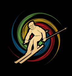 Skier action ski graphic vec vector
