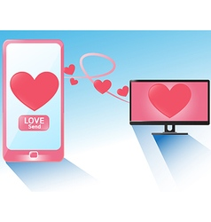 Smartphone send love heart in valentines Day vector image