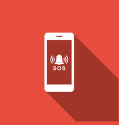 Sos call icon isolated with long shadow vector